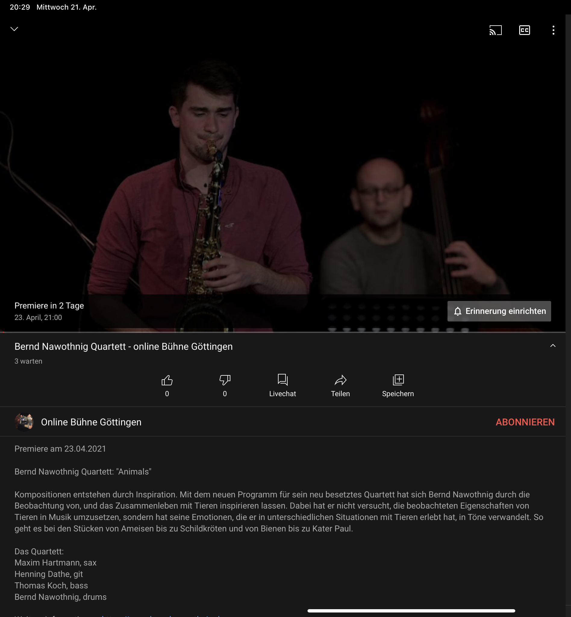 "Bernd Nawothnig Quartett, Video-Premiere ""Animals"""